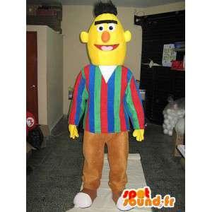 Mascotte enkele man in het geel hoofd met bruine broek
