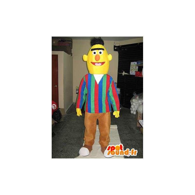 Mascotte enkele man in het geel hoofd met bruine broek - MASFR00651 - man Mascottes