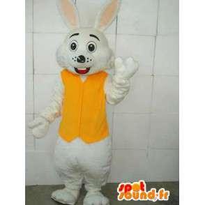 κίτρινο και λευκό λαγουδάκι μασκότ - Συμπεριλαμβάνεται Αξεσουάρ - Κοστούμια - MASFR00670 - μασκότ κουνελιών