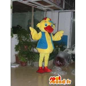 Anatra mascotte gialla con tonalita blu e berretto rosso