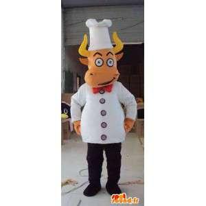 Mascotte boeuf cuisinier avec ses accessoires de chef blancs