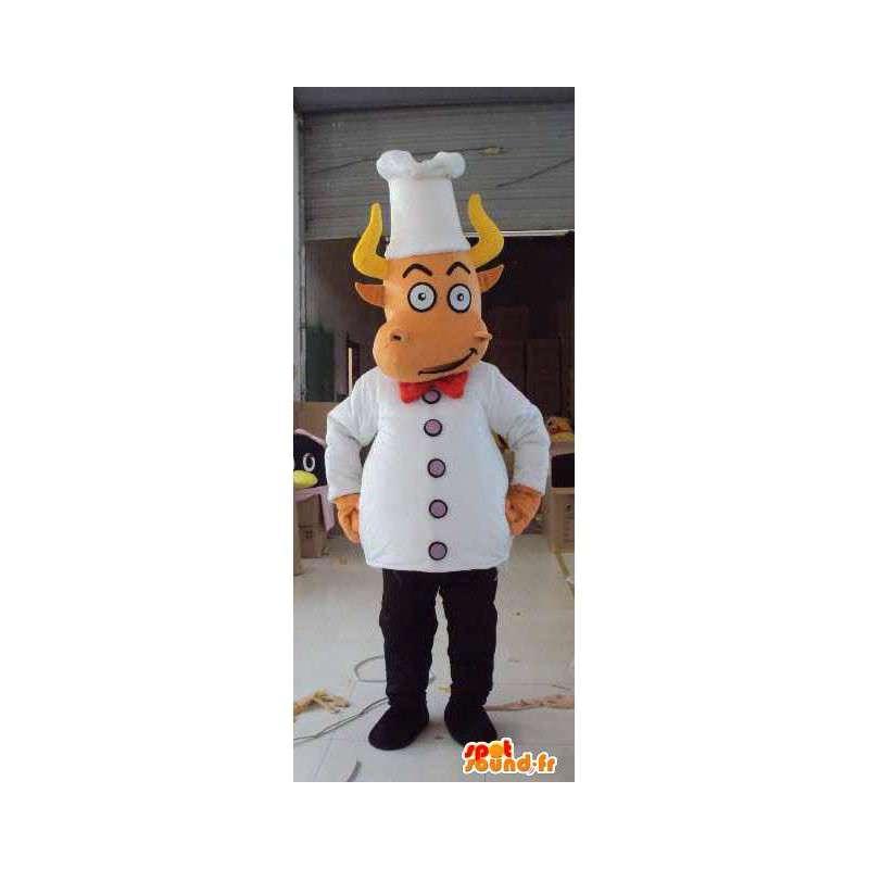 Maskotti kokki naudanlihaa valkoinen pää tarvikkeet - MASFR00672 - lehmä Maskotteja