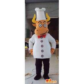 Mascotte boeuf cuisinier avec ses accessoires de chef blancs - MASFR00672 - Mascottes Vache