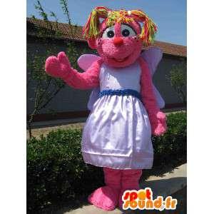 Mascotte peluche rose avec chevelure en pagaille multicouleurs