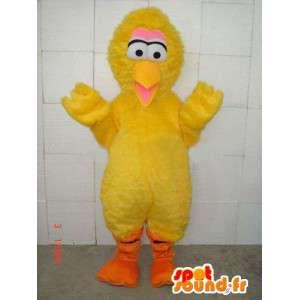 Kanarigul gul kylling maskot stil bjørn og fiber