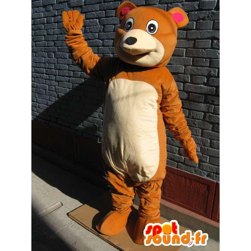 Μασκότ απαλό καφέ και μπεζ αρκουδάκι - νόστιμα Βελούδινα - MASFR00675 - Αρκούδα μασκότ