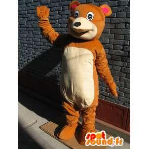 Pooh mascotte morbido marrone e beige - Peluche delizioso - MASFR00675 - Mascotte orso