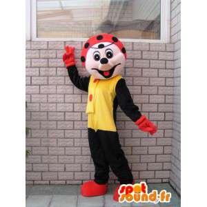 Mascotte de personnage de coccinelle noire et rouge festive