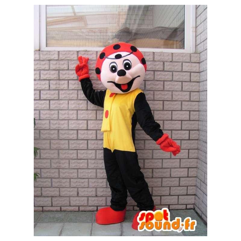 Zwart lieveheersbeestje mascotte karakter en feestelijke rode - MASFR00676 - mascottes Insect