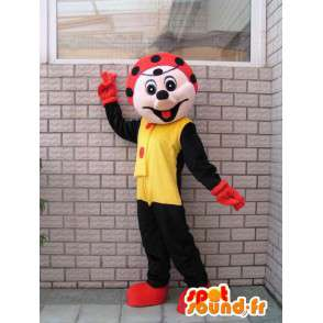 黒てんとう虫のマスコットキャラクターとお祝いの赤 - MASFR00676 - マスコット昆虫
