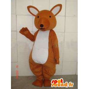 Bruine kangoeroe mascotte en eenvoudig wit voor feesten