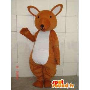 Mascotte de kangourou marron et blanc simple pour fêtes