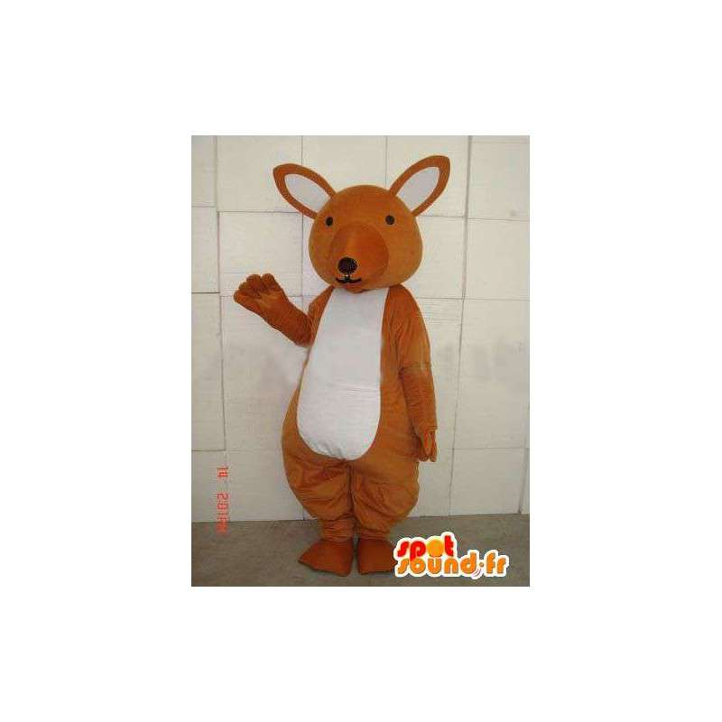 Bruine kangoeroe mascotte en eenvoudig wit voor feesten - MASFR00677 - Kangaroo mascottes