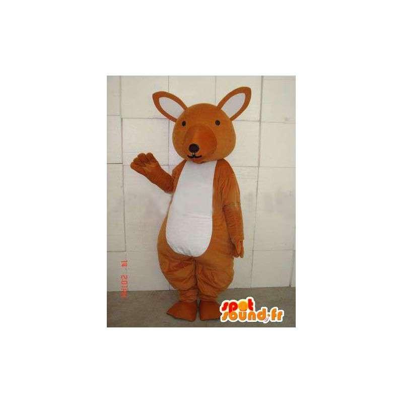 Canguro mascotte marrone e bianco celebrazione semplice - MASFR00677 - Mascotte di canguro