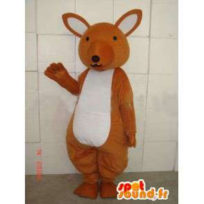 Mascotte de kangourou marron et blanc simple pour fêtes - MASFR00677 - Mascottes Kangourou