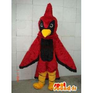 Mascotte aigle rouge et noir avec crête de coq rouge en peluche