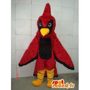 Mascot roten und schwarzen Adler-Wappen mit rotem Schwanz gefüllt - MASFR00680 - Maskottchen der Hennen huhn Hahn