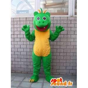 Maskotti hassu vihreä ja keltainen salamander matelija tyyli