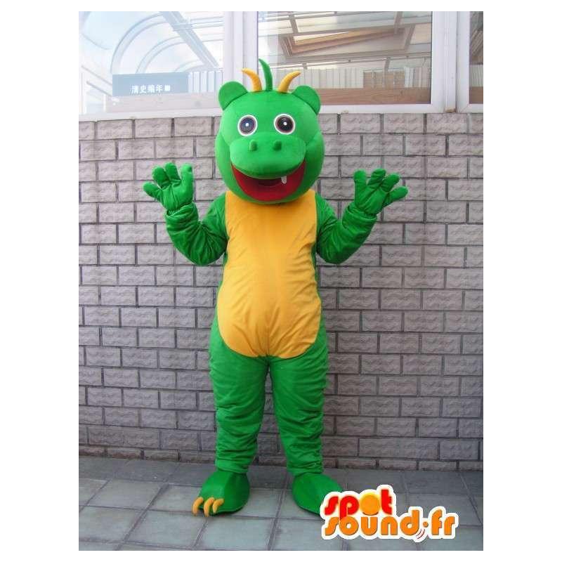 Mascot salamandra estilo reptil verde y amarilla caprichosa - MASFR00681 - Mascotas de los reptiles