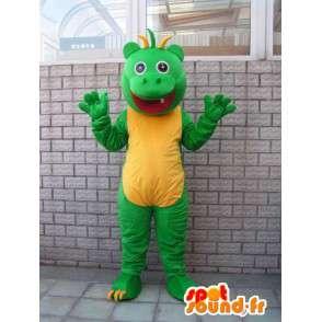 Mascotte fantasque de salamandre verte et jaune style reptile - MASFR00681 - Mascottes de reptiles