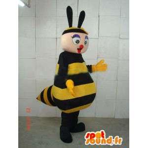 Bee Mascot met grote gele en zwarte gestreepte borst vooruit