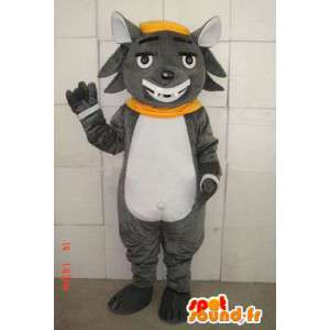 Mascot gray cat with charming smile and accessories