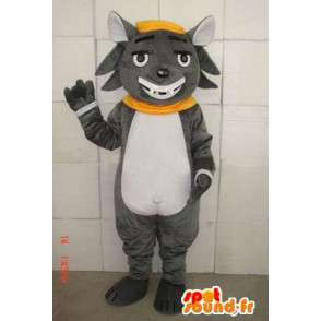 Szary kot maskotka z czarującym uśmiechem i akcesoria - MASFR00684 - Cat Maskotki