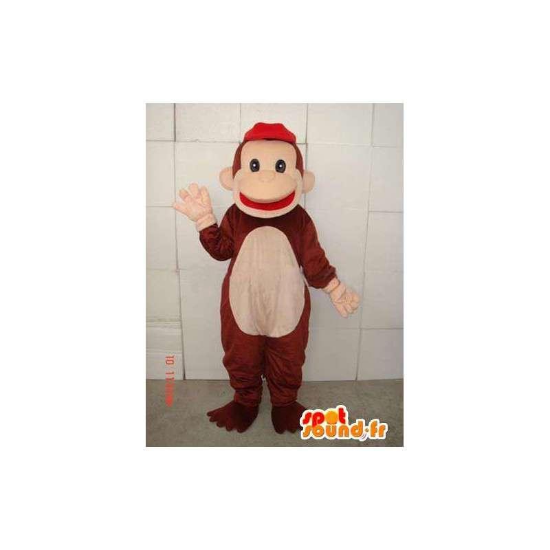 赤い帽子と茶色とベージュの猿のマスコット - MASFR00686 - モンキーマスコット