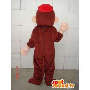 Mascotte de singe marron et beige avec casquette rouge - MASFR00686 - Mascottes Singe