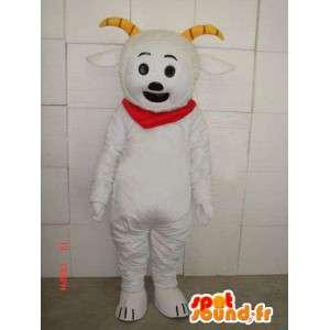 Maskot koza styl koza s rohy a červeným šátkem