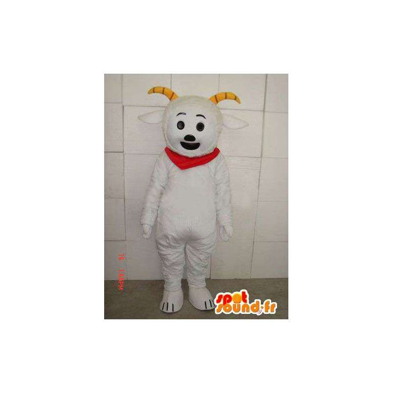 Mascotte de bouquetin style chèvre avec cornes et foulard rouge - MASFR00687 - Mascottes Boucs et Chèvres