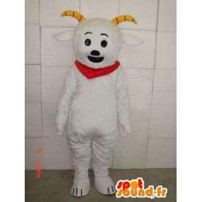 Estilo de la mascota de cabra montés con cuernos y pañuelo rojo - MASFR00687 - Cabras y cabras mascotas