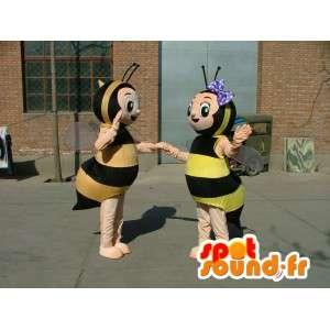 Costume double de mascottes d'abeilles jaunes et noires rayées
