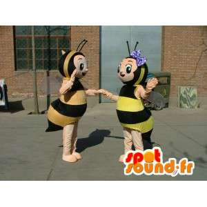 Costume mascots double bee yellow and black striped