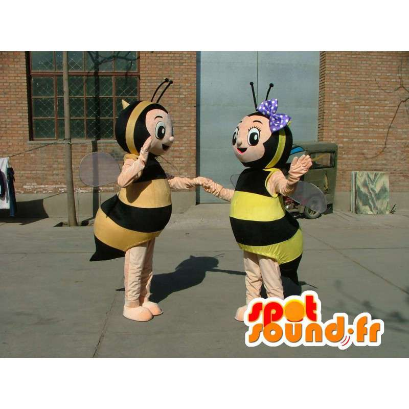 Double kostuum mascottes van geel en zwart gestreepte bijen - MASFR00690 - Bee Mascot