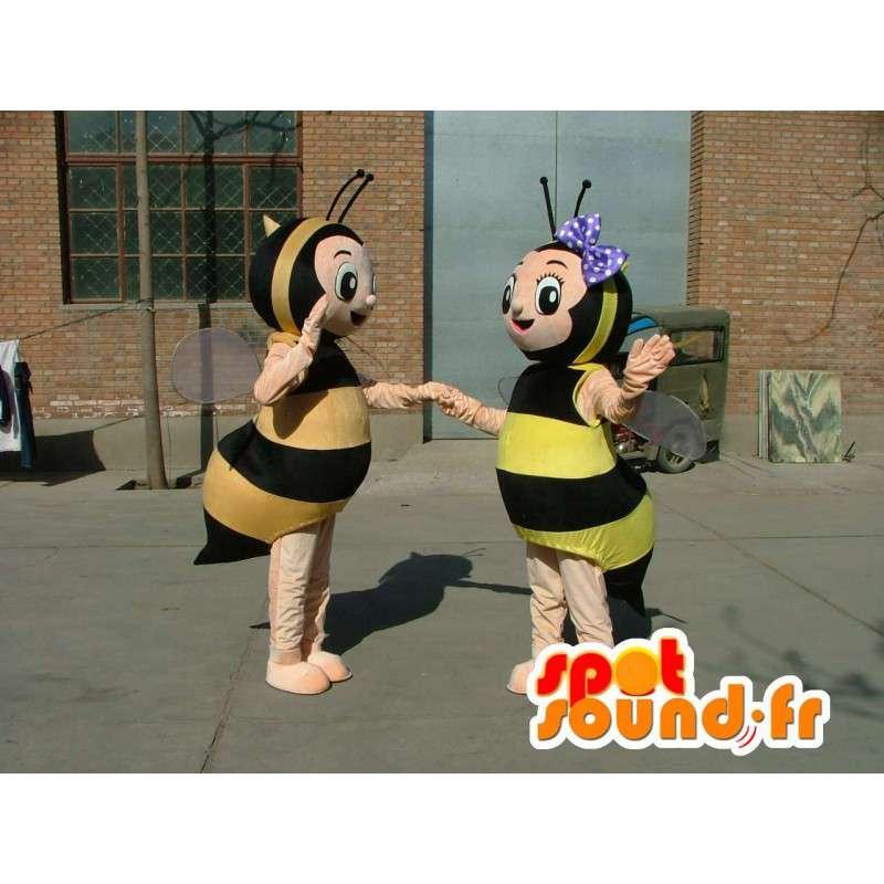 Kaksinkertainen puku maskotteja keltainen ja musta raidallinen mehiläiset - MASFR00690 - Bee Mascot