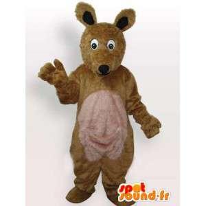 Mascotte de renard en peluche marron et beige classique