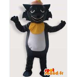 Mascotte de chat noir ébouriffe d'une cicatrice avec accessoires