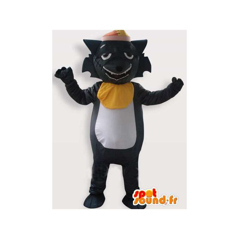 Mascotte Gatto nero gonfia una cicatrice con accessori - MASFR00692 - Mascotte gatto