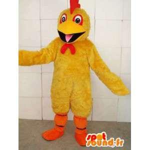 Żółty kogut maskotka z czerwonym grzebieniem i pomarańczy wspierać