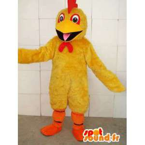 Mascotte de coq jaune avec crête rouge et orange pour supporter
