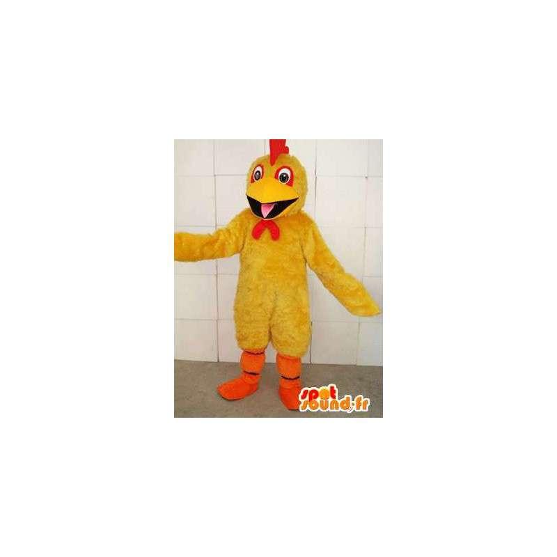 Żółty kogut maskotka z czerwonym grzebieniem i pomarańczy wspierać - MASFR00695 - Mascot Kury - Koguty - Kurczaki