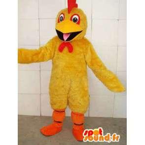 Geel haan mascotte met rode kuif en oranje te steunen - MASFR00695 - Mascot Hens - Hanen - Kippen