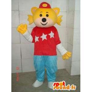 Mascot hombre pez con aletas amarillas y ropa