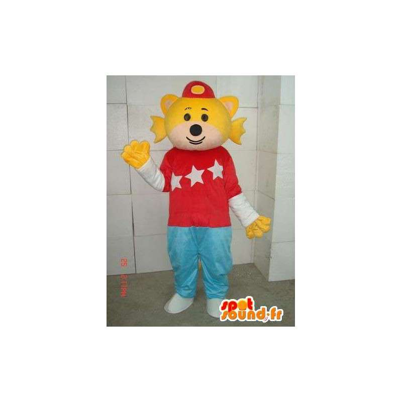Mascot fisk man med gule ribber og klær - MASFR00696 - fisk Maskoter