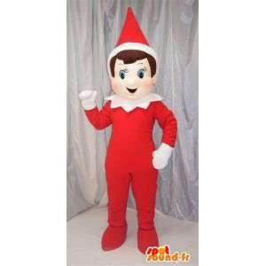 特別な赤と白のコーンクリスマスの帽子とインプの赤