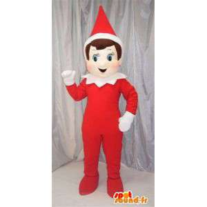 Lutin rouge avec chapeau en cône rouge et blanc spécial Noël