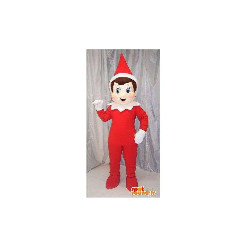 Lutin rouge avec chapeau en cône rouge et blanc spécial Noël - MASFR00697 - Mascottes Noël