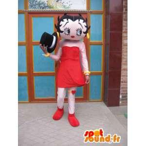 Mascotte jeune fille timide avec jupe rouge et chapeau noir