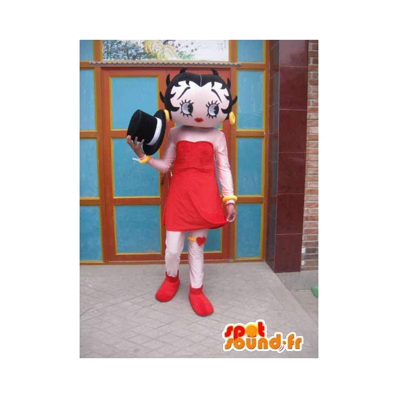 Mascotte jeune fille timide avec jupe rouge et chapeau noir - MASFR00698 - Mascottes Garçons et Filles